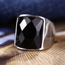 316l titanium stainless steel black obsidian onyx purple/blue stone wide ring silver men women Punk gothic cool nickel free male(China (Mainland))