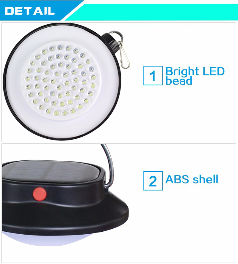 Solar Portable Lanterns Lights Lamp 60LEDs Outdoor Hanging Led Camping Lights USB Rechargeable Battery Waterproof IP65 Led Bulb (10)