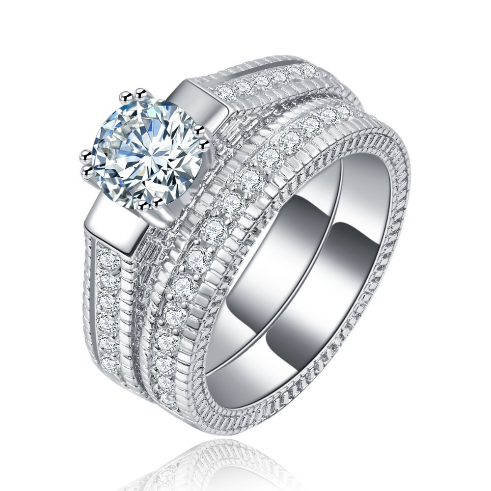 White Gold Plated Set for women engagement luxury Jewelry for lady vintage tent wedding ring bijoux Accessories MYR 121(China (Mainland))