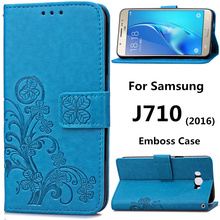 J7 Emboss Leather Case Samsung Galaxy J710 Flip Cover Stand Function Card Slot Wallet Cases black 2016 J710Case SM 710 - China-made goods store