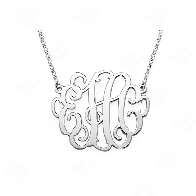 Custom Name Monogram Necklace Silver Plated Pendant Necklace Necklace Women Best Friends Gift Fashion Jewelry in
