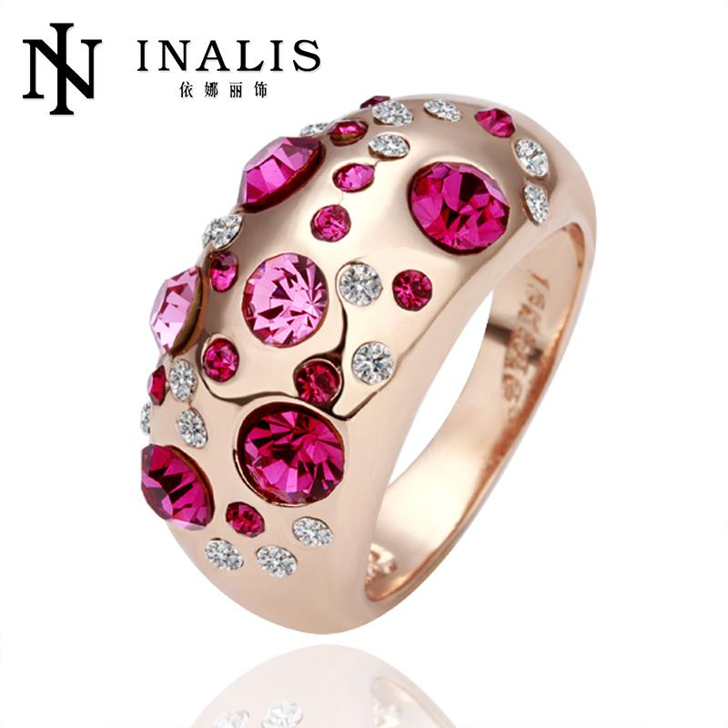 R077 Hot Sale 18k Gold Plated Series Jewelry Korean Austrian Crystal Rings For Couples, Beaded Rings Bijoux Women Bague Gift(China (Mainland))