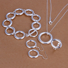 Factory price top quality silver plated cute jewelry sets necklace bracelet bangle earring ring free shipping SMTS319(China (Mainland))