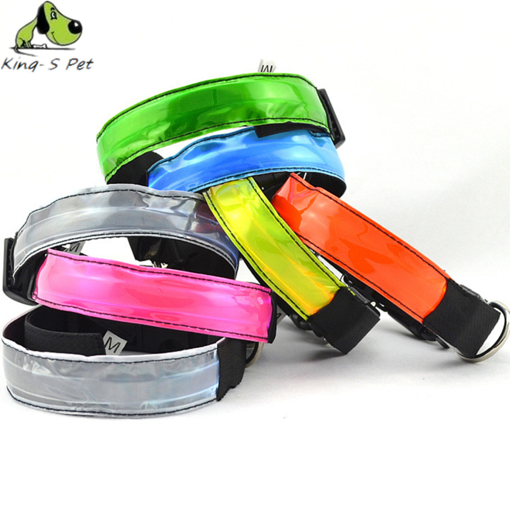 LED Flashing Dog Nylon Collar Neck Width 2.5cm Luminous Dog Collar Spot Pet Supplies Collars For Small Dogs Size S M L XL(China (Mainland))