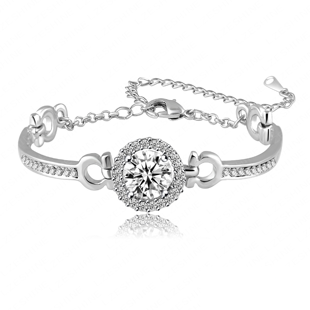 Bracelet Bangle Jewelry Round Cubic Zirconia Diamond Bracelets Hearts & Arrows Perfect Cut 3.5 Carat CZ Charm Bracelet CBR0001-B(China (Mainland))