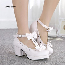 CDTS zapatos mujer Spring/Autumn Sweet T-strap Shoes female high-heeled pink cosplay shoes lolita single princess Bowtie Pumps