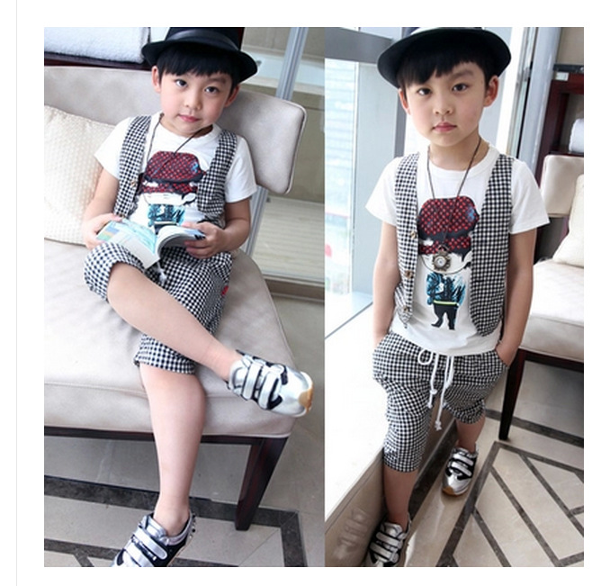 2-12Y kids hip hop clothing children Korean boys short set 2016 boys summer clothing teenage fashion(China (Mainland))