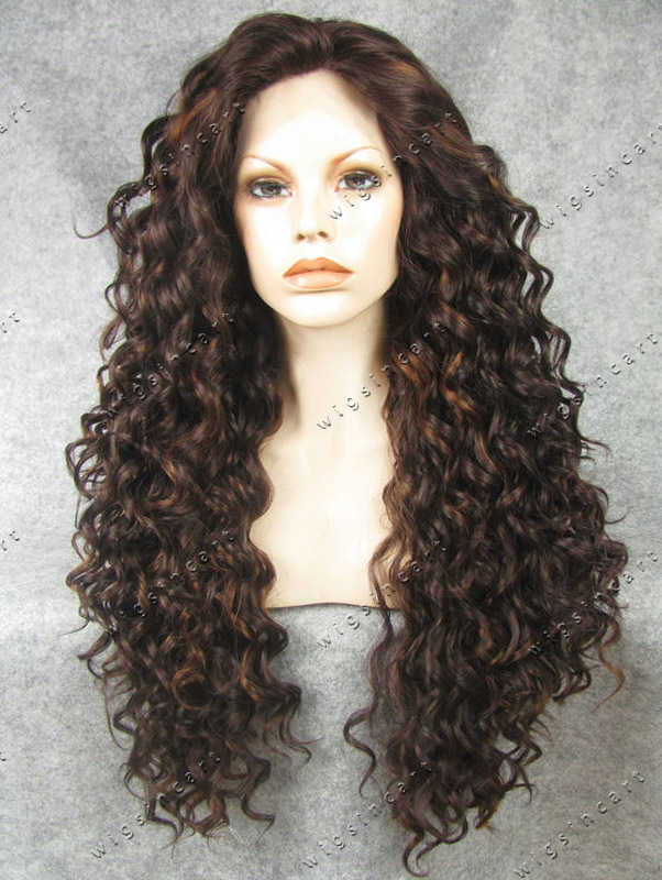 Brown Long Curly Lace Front Wigs