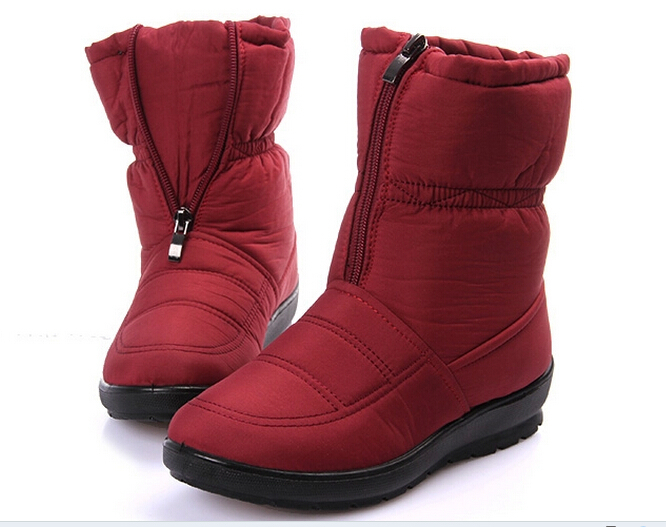 2015 Winter snow boots womens medium-leg boots flat slip-resistant thermal winter shoes maternity cotton-padded  winter boots<br><br>Aliexpress