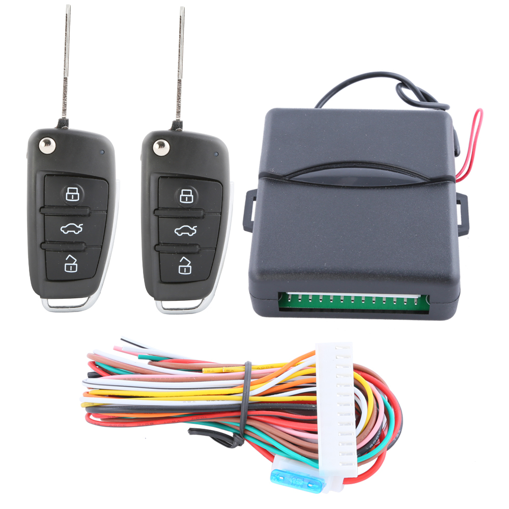 In Stock ! classic universal keyless entry system with customized flip key remote trunk release central door locking(China (Mainland))