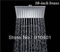 "Free Shipping Wholesale And Retail Promotion  Chrome Brass Ultrathin 10"" Bathroom Square Shower Head Bathroom Shower Sprayer"