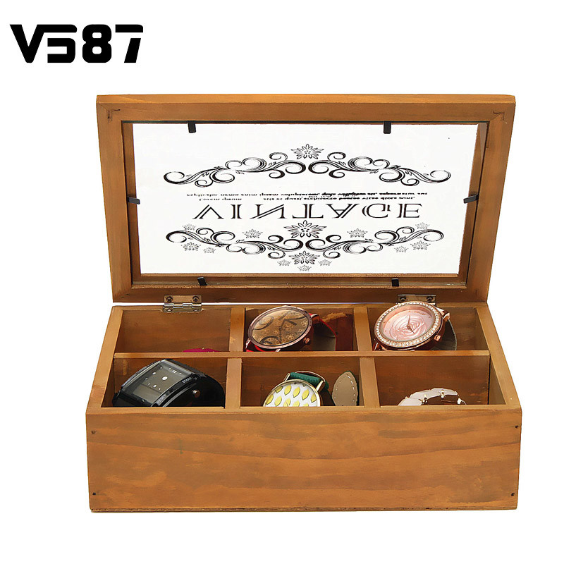 6 Slots Wooden Jewelry Storage Box Kid Gift Case Pendant Organizer Divider Container Bin With Glass Lid Cover(China (Mainland))