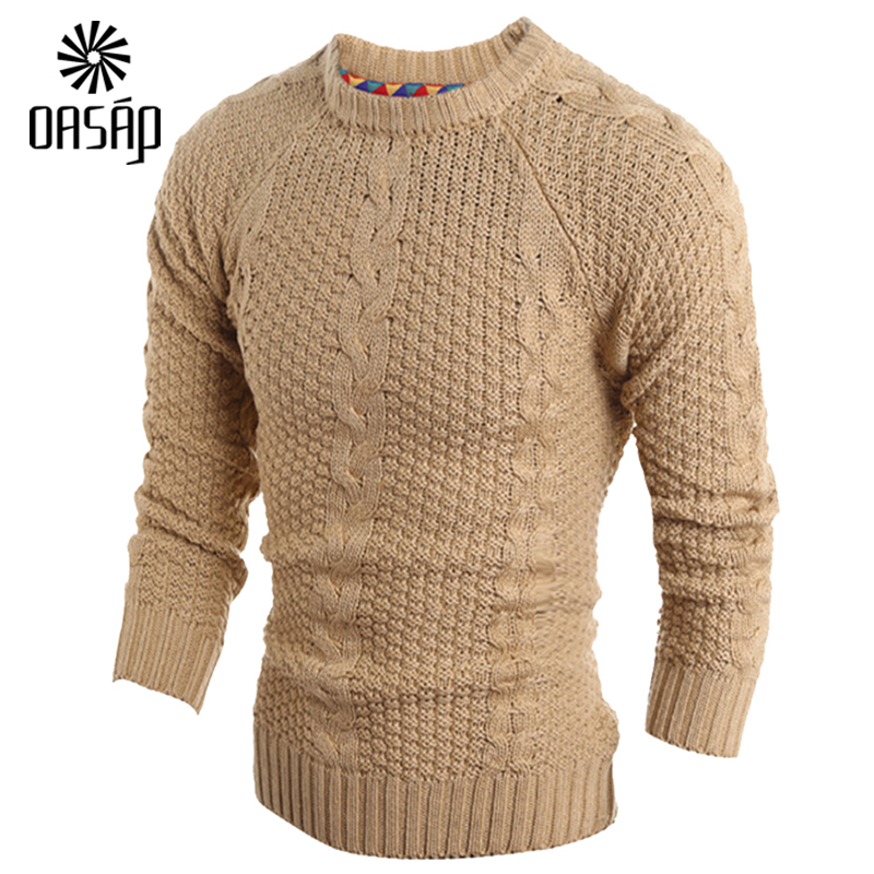OASAP 2015 Mens Chic Cable Knit Crew Neck Pullover ...