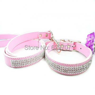Pet Dog Collars&Leads Personalized Pu Leather Rhinestone Dog-Collar Set ( 1 Matching Leash & 1 Collar )