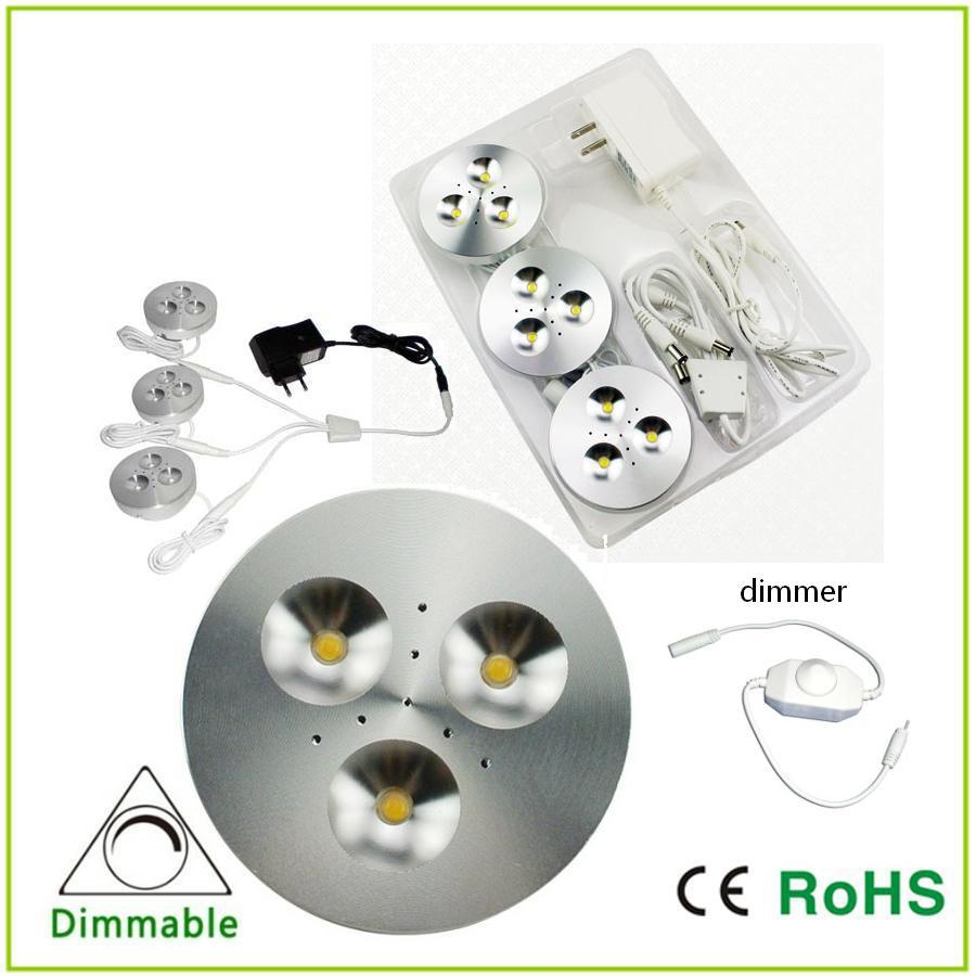 led led puck light led cabinet light white warm white with dimmer. Black Bedroom Furniture Sets. Home Design Ideas