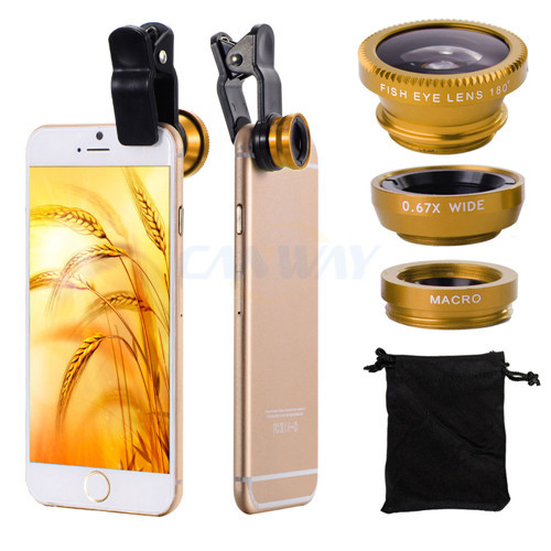 Free shipping 3 In 1 Universal Clip Mobile Phone Lens For iphone samsung nokia sony HTC Fish Eye + Macro + Wide Angle