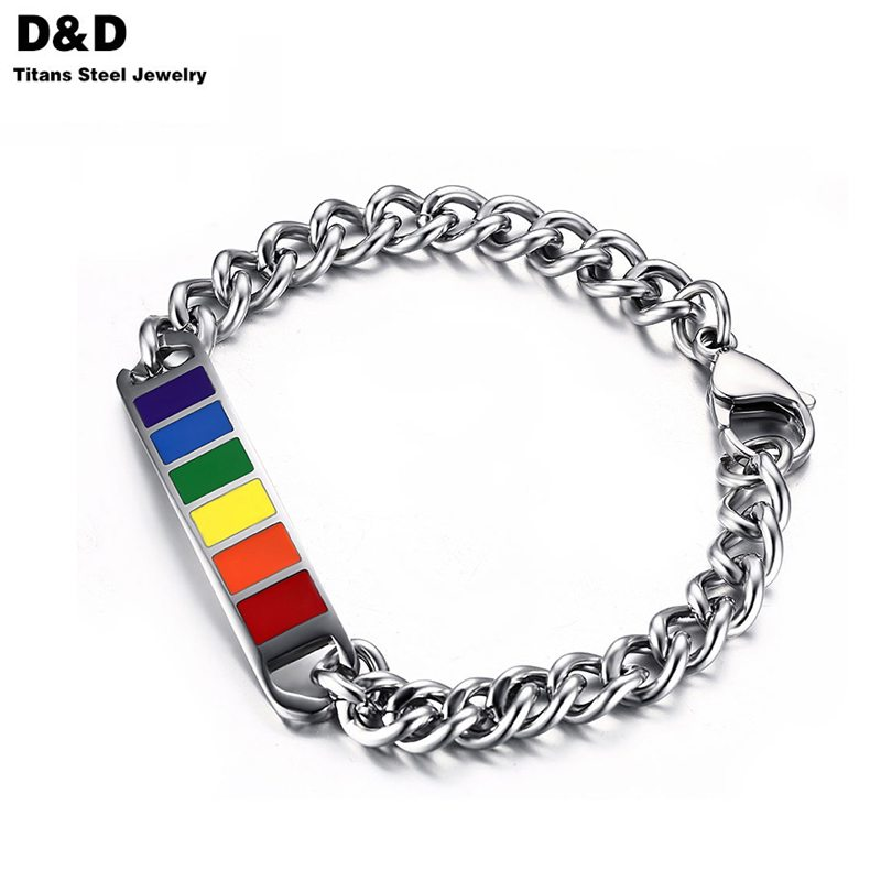 High quality stainless steel ID bracelets bangles for men charms gay pride rainbow jewelry PB-002(China (Mainland))