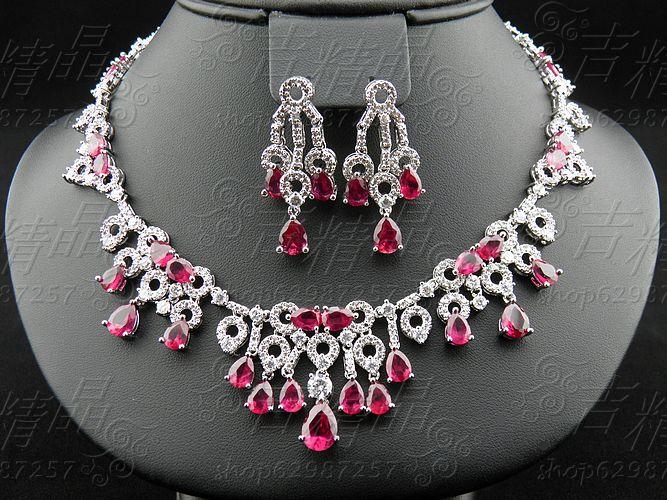 Luxury popular jewelry red corundum zircon necklace chain sets the bride wedding dress formal dress crystal accessories