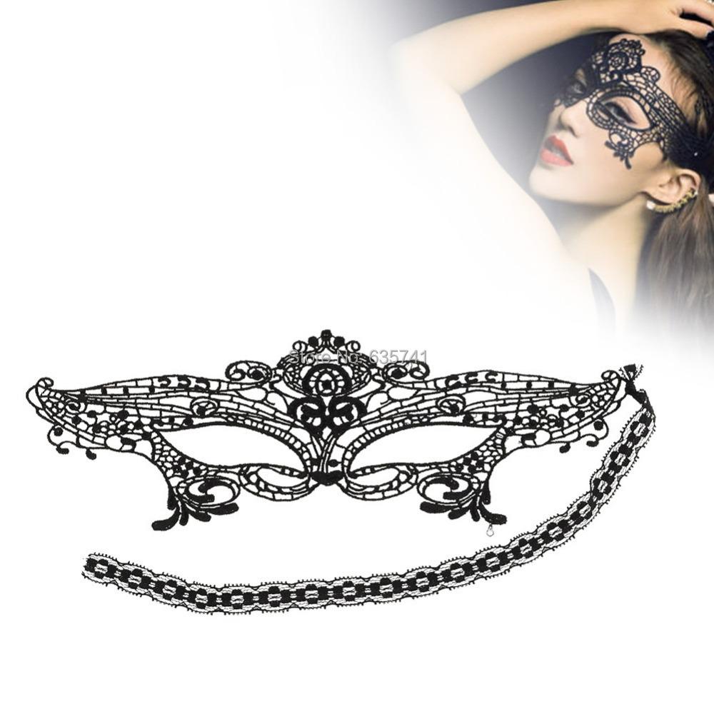 Black Phantom Hollow Venetian Half Mask Masquerade Lace Cover Eyes Halloween Free Shipping(China (Mainland))