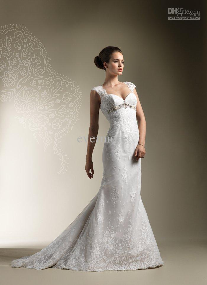 Luxury sweetheart a line court beaded cap sleeves lace for Lace sweetheart wedding dress cap sleeves