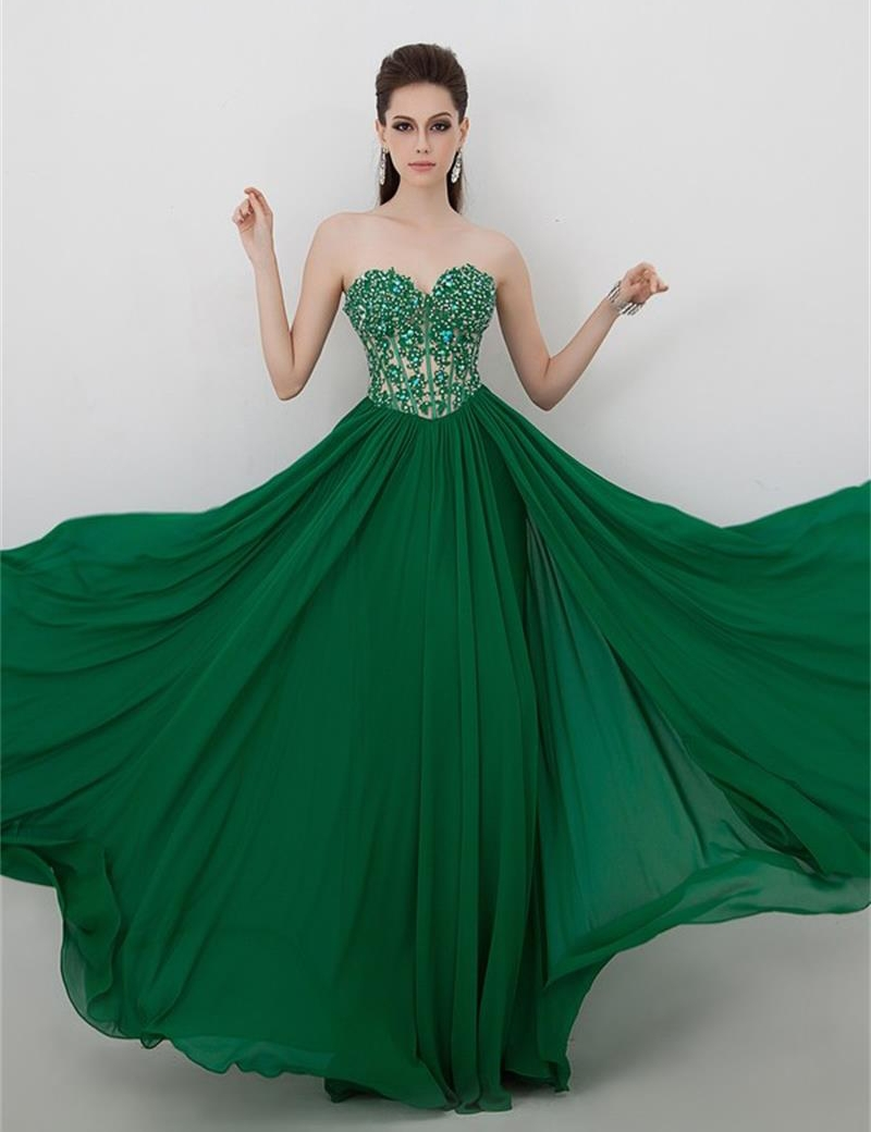 Emerald Green Evening Dresses For Wedding 2015 Elegant Sexy Appliques Crystal Chiffon Long