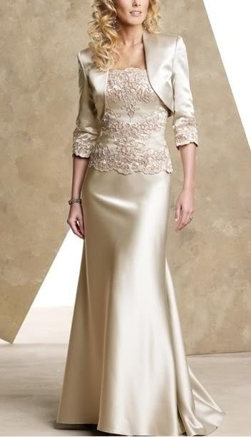 Women champagne satin applique jacket gown wedding birdal for Cocktail dress with jacket for wedding