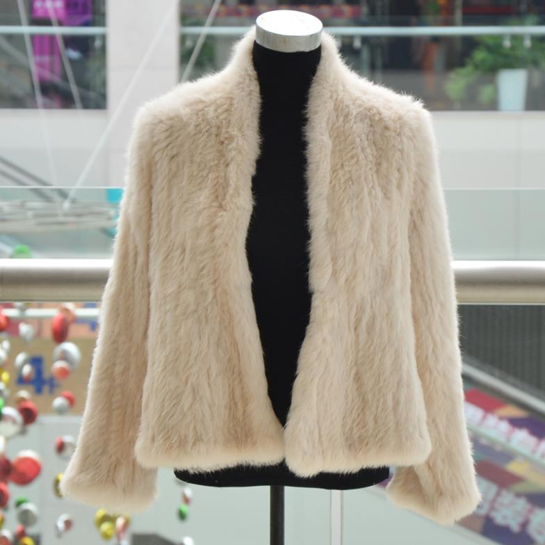 Knitted knit real rabbit fur coat overcoat jacket women genuine fur 3 colors NO.CR002(China (Mainland))