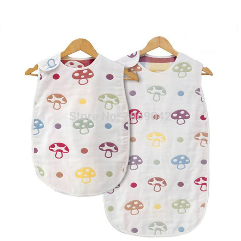 2016 Fashion Brand 100% Pure Natural Gauze Swaddle Baby Sleeping Bag Summer Boy Girl Child Prevent Kicking Quilt Six layer Gauze(China (Mainland))