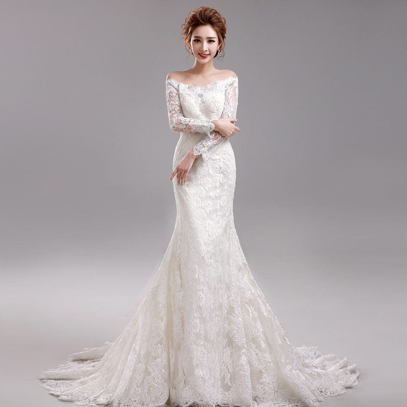Wedding dress 2015 new arrival bride long sleeves lace for Mermaid wedding dress with train