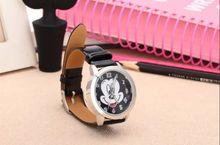 Historieta de Mickey Mouse Mickey reloj de cuarzo de ginebra vestido reloj de pulsera cristal con correa de piel para mujeres niñas señora relojes
