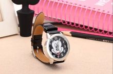 Mouse Cartoon Mickey Quartz Watch Geneva Dress Wristwatch Crystal with Leather Watchband for Women Girls lady Watches