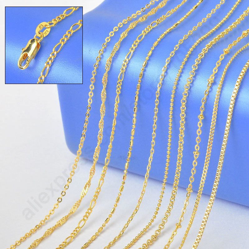 New GF Jewelry Sample 18 Mix 10 Kinds 18K Solid Yellow Gold Filled Venice Figaro Rolo
