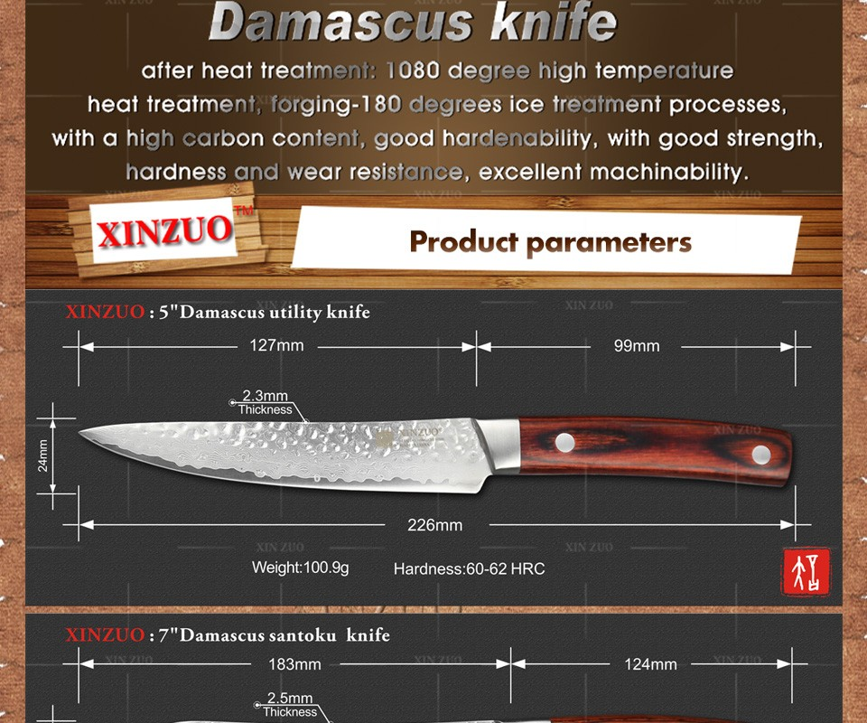 Buy XINZUO 3 pcs Kitchen knives set Japanese Damascus kitchen knife surper sharp chef knife santoku Color wood handle free shipping cheap