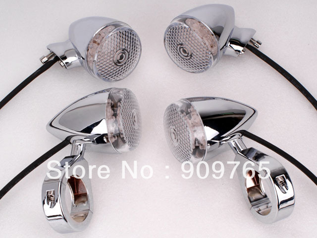 Free Shipping 4Pcs Chrome Bullet Front Rear Turn Signal Light 41mm Relocation Fork Clamp For Harley