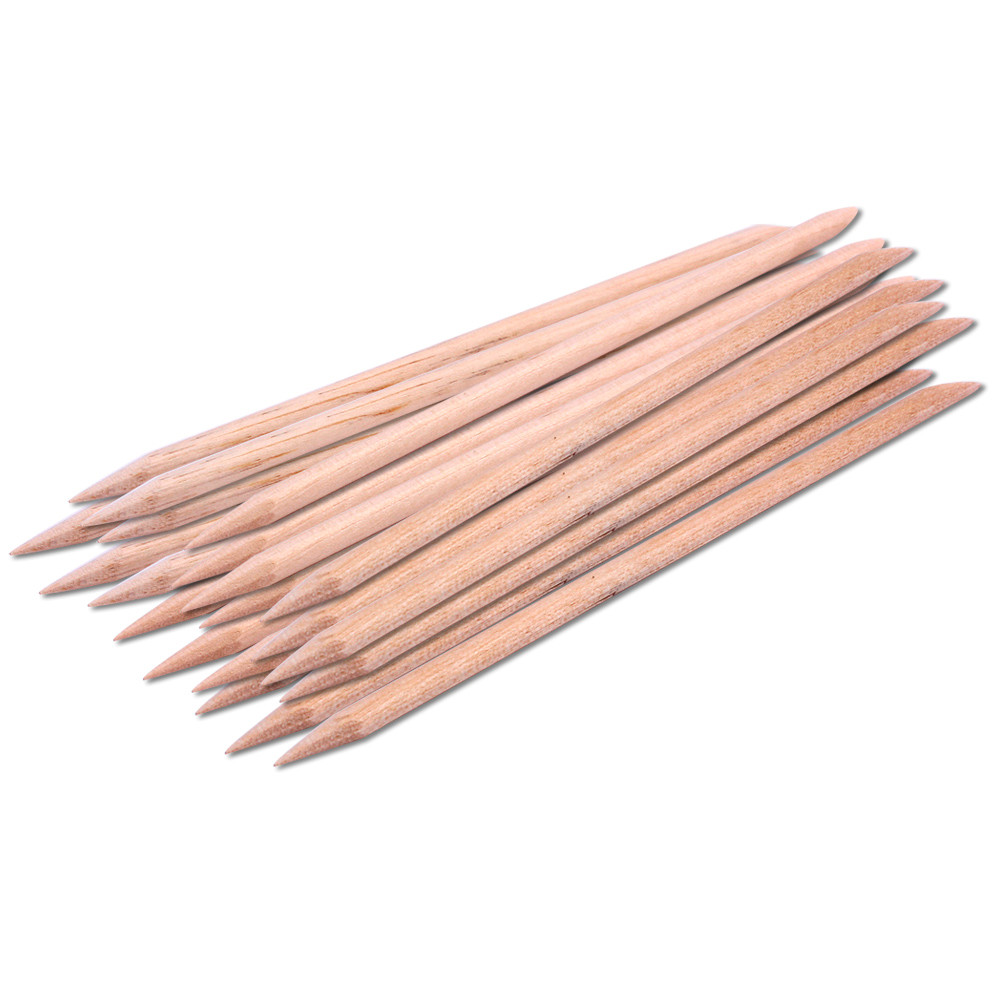 20pcs Orange Sticks Cuticle Pusher Cuticle Remover For Nail Art Care Manicures Nail Tools Angled Double Sided Orange Wood Stick