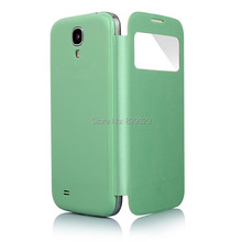 For Samsung Galaxy S4 SIV I9500 9500 View Window Flip Leather Back Cover Battery Housing Case