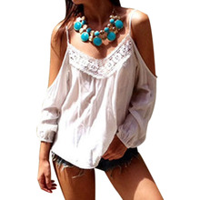 Summer Style Shirts 2015 Sexy Women Off Shoulder Blouses Tops Casual Loose White Lace Patchwork Chiffon Blusas Plus Size(China (Mainland))
