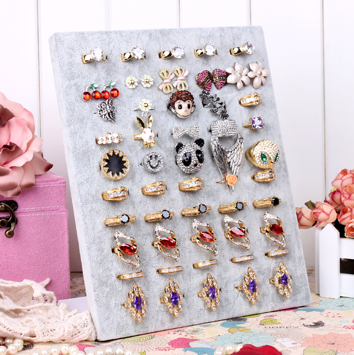 Beige Earring Ring Display Large Board Fabric High and Comfortable Jewelry L Stand Holder(China (Mainland))
