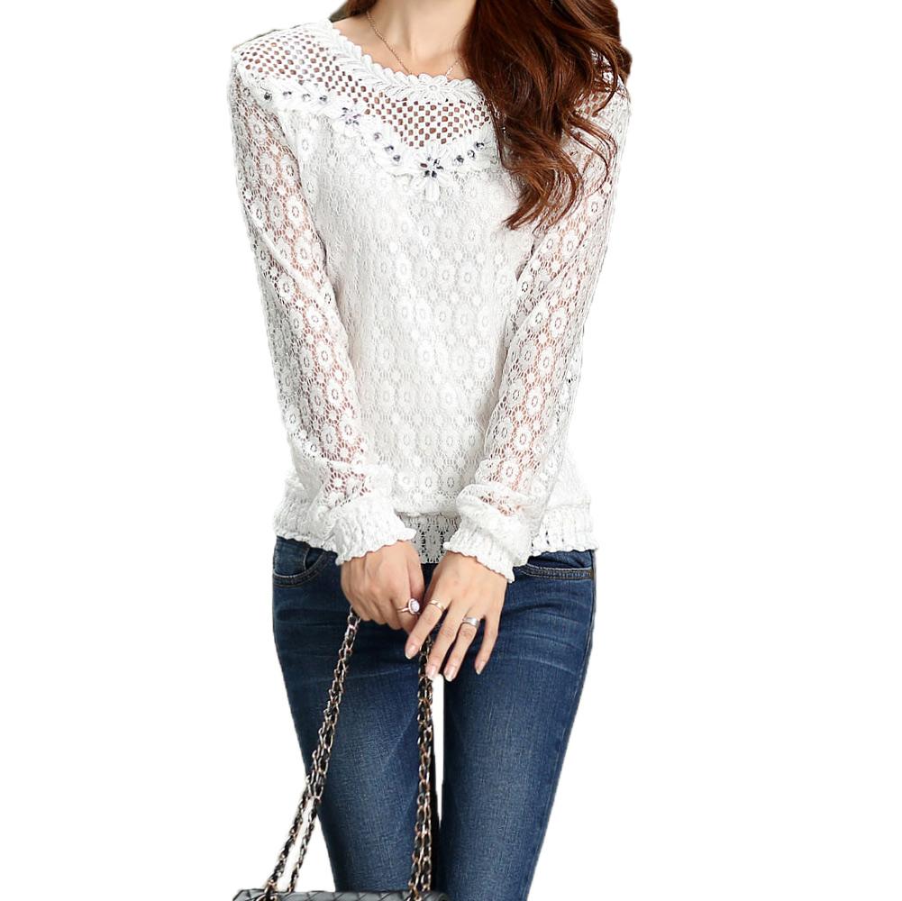 Fashion Women Floral Blusas Lace Crochet Women Blouses Rhinestone Decoration Patchwork Long Sleeve Top White Blusas Femininas(China (Mainland))