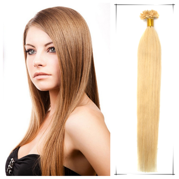 Promotion 1pc/lot straight style keratin u tip weave 18inch/45cm 50g/pc #24 Medium blonde Grade 5A human remy hair cabelo humano(China (Mainland))