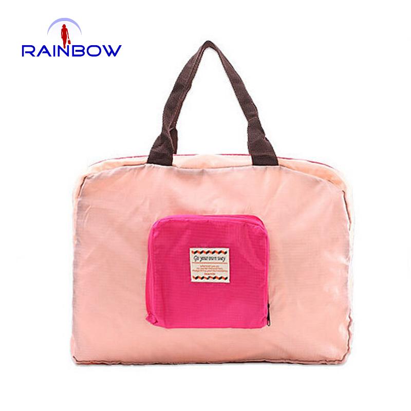 2015 large capacity foldable waterproof women travel bags fashion nylon small pocket totes travel duffles(China (Mainland))
