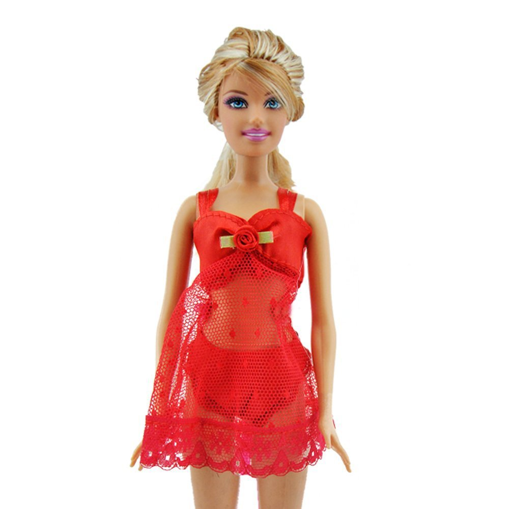 Red 3 pcs pajamas lingerie underwear dress clothes for barbie dolls in