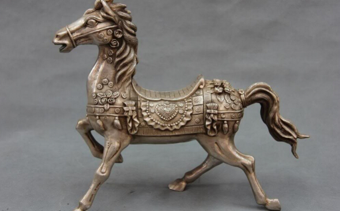Collectible bronze S2411 Chinese Folk White Copper Bronze Silver Fengshui Tang War Horse Statue Figure (A0321)(China (Mainland))