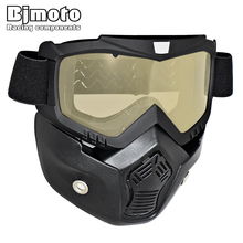 New Motorcycle Face Mask Dust Mask With Detachable Goggles And Mouth Filter for Modular for Open Face Moto Vintage Helmets