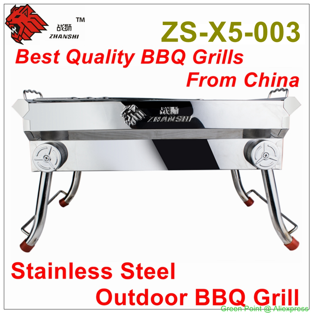 Zhanshi Outdoor Stainless Steel BBQ Grill ZS-X5-003 Camping Charcoal BBQ Grill Portable Barbecue Grill For 2-4 People use(China (Mainland))