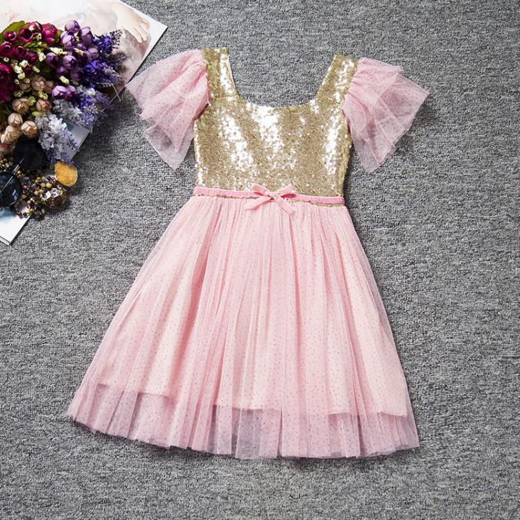 Retail Free Shipping! NEW Girls Baby Toddler Golden Sequined Tulle Party Dress Ball Gown Sparkling 1-6 Years 50% off Now!(China (Mainland))
