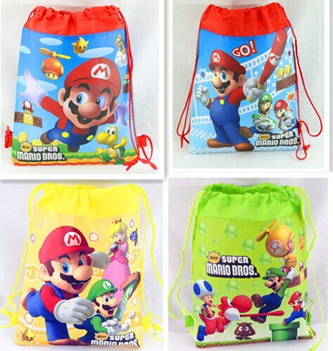 40Pcs Super Mario Cartoon Drawstring Backpack Kids School Bags ,34*27cm,Kids Best Gift for kid