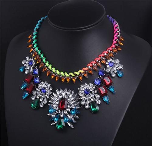 New 1 Pcs Women Lady Colorful Weave Double layer Choker Bib Statement Chunky Collar Necklace Pendant Chain Jewelry freight(China (Mainland))