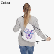 POLYGON KOALA 3D printing Women's Men's Gym Bags Daypack Handbag mochila feminina bolso de lazo Travel drawstring bag backpacks