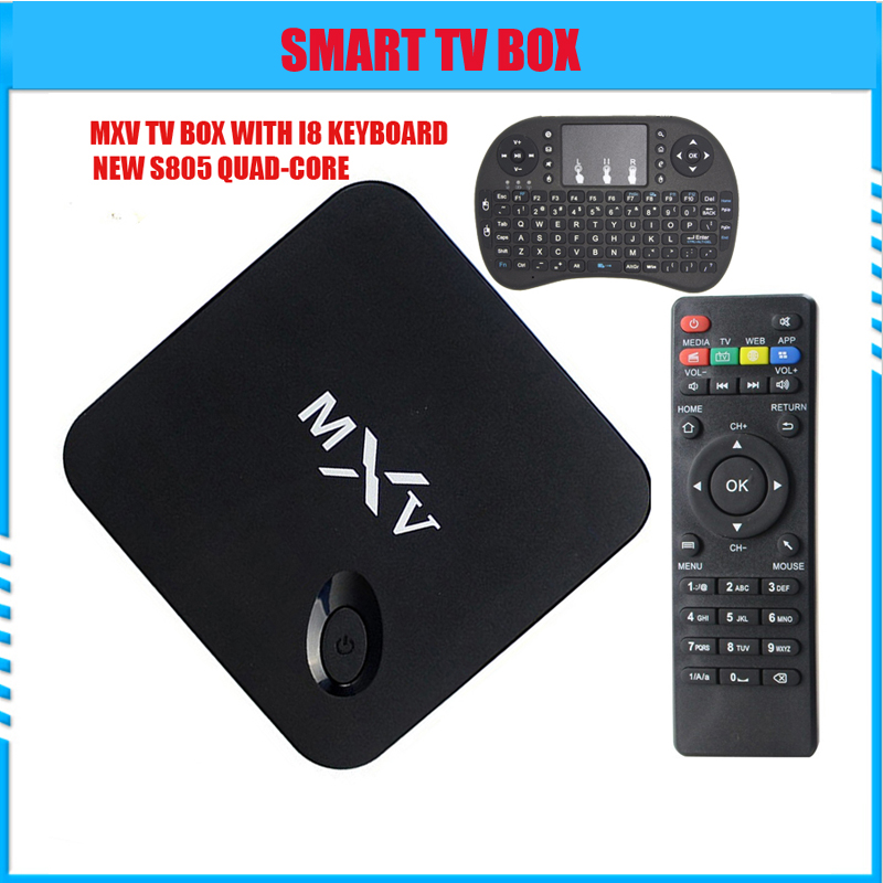 MXV android4.4 Smart tv box With i8 keyboard s805 Quad Core RAM1GB8GB KODI 14.2 full loaded Airplay APK &amp; ADD-ONS Pre-installed<br><br>Aliexpress